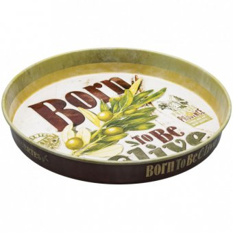 Plateau métal rond - Born to be olive